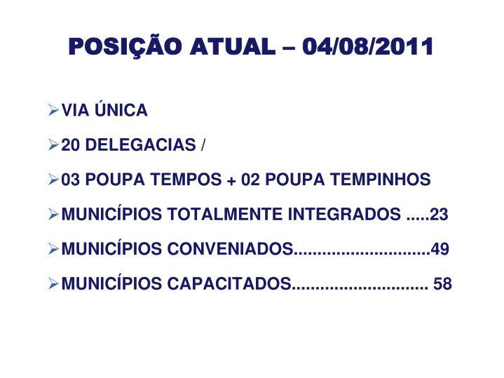 POSIÇÃO ATUAL – 04/08/2011