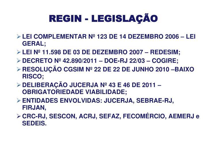 REGIN - LEGISLAÇÃO