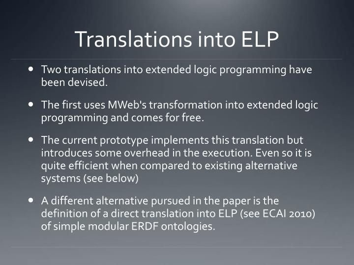 Translations into ELP