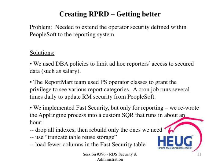Creating RPRD – Getting better