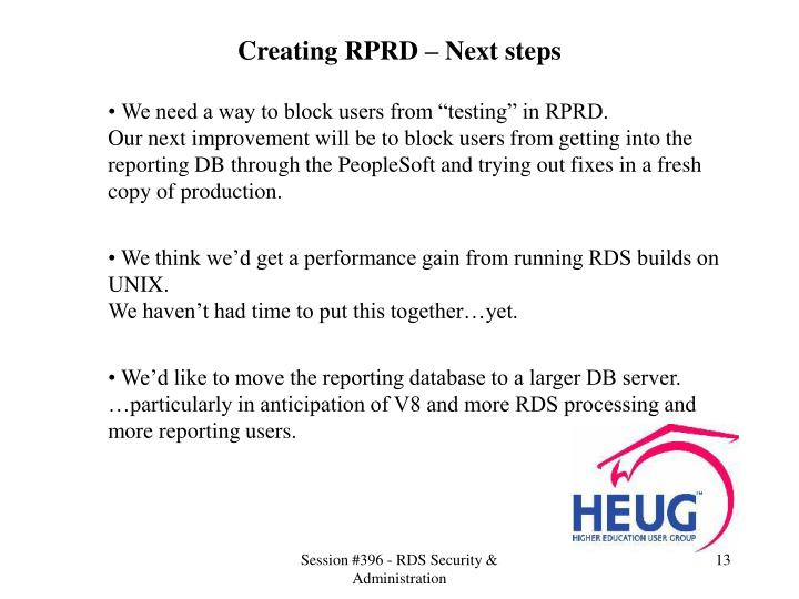 Creating RPRD – Next steps