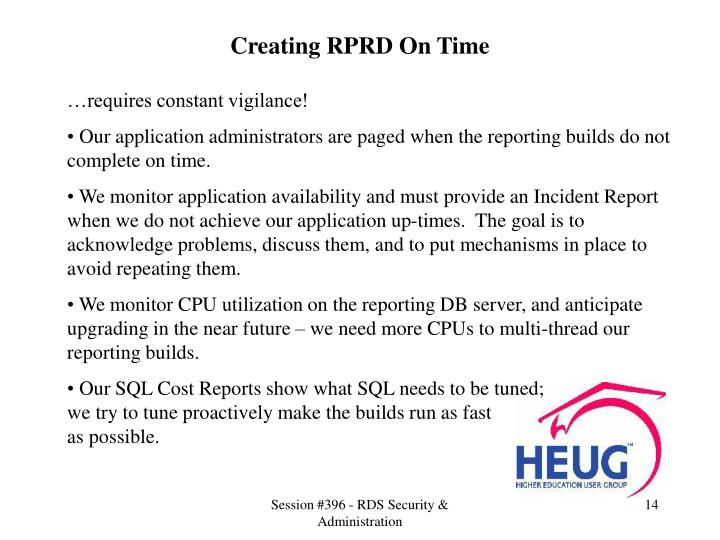 Creating RPRD On Time