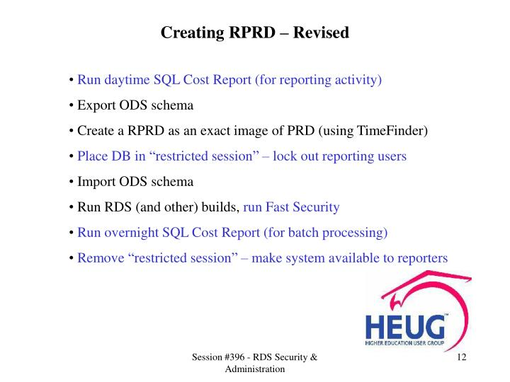 Creating RPRD – Revised