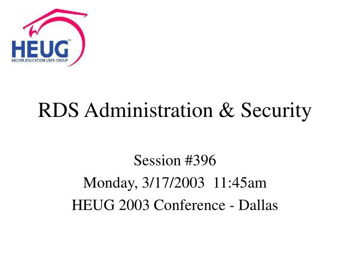 RDS Administration & Security
