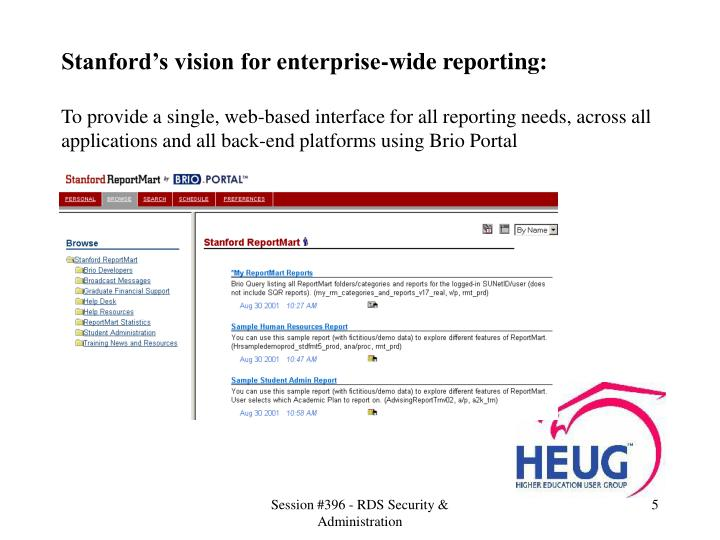 Stanford's vision for enterprise-wide reporting: