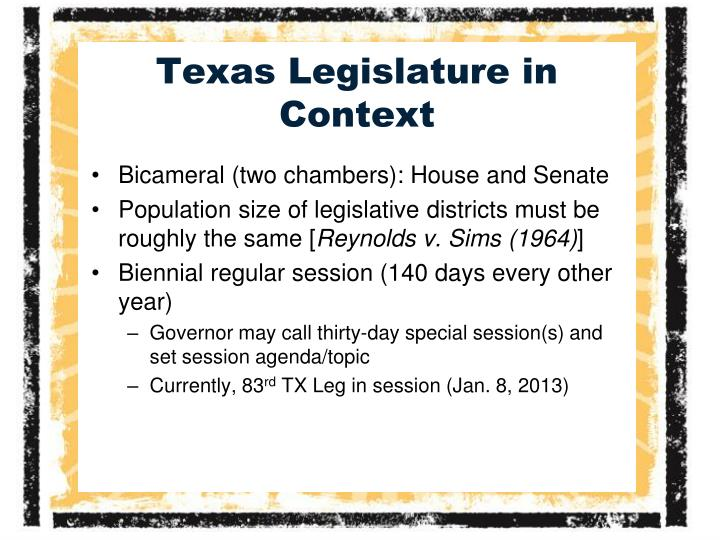 Texas legislature in context