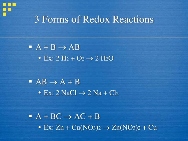 3 Forms of Redox Reactions
