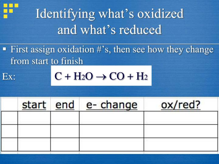 Identifying what's oxidized