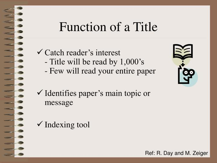 Function of a Title