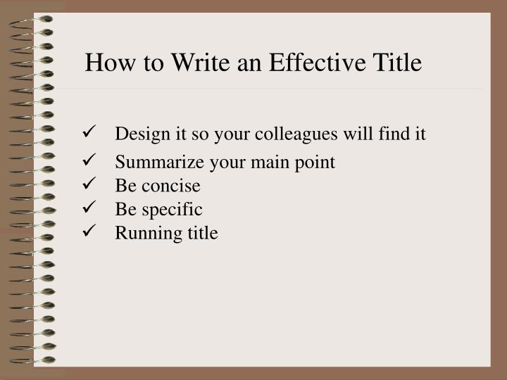How to Write an Effective Title