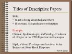 titles of descriptive papers