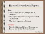 titles of hypothesis papers