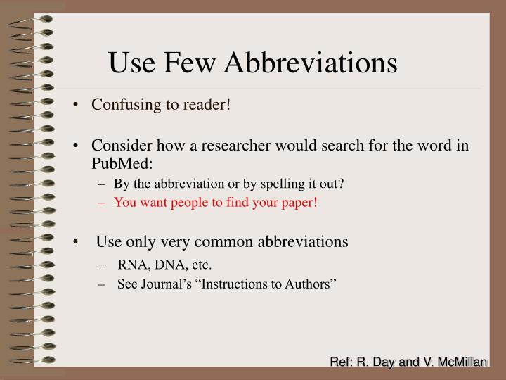 Use Few Abbreviations