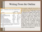 writing from the outline