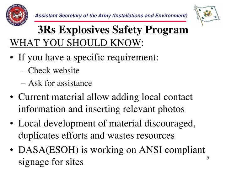 3Rs Explosives Safety Program