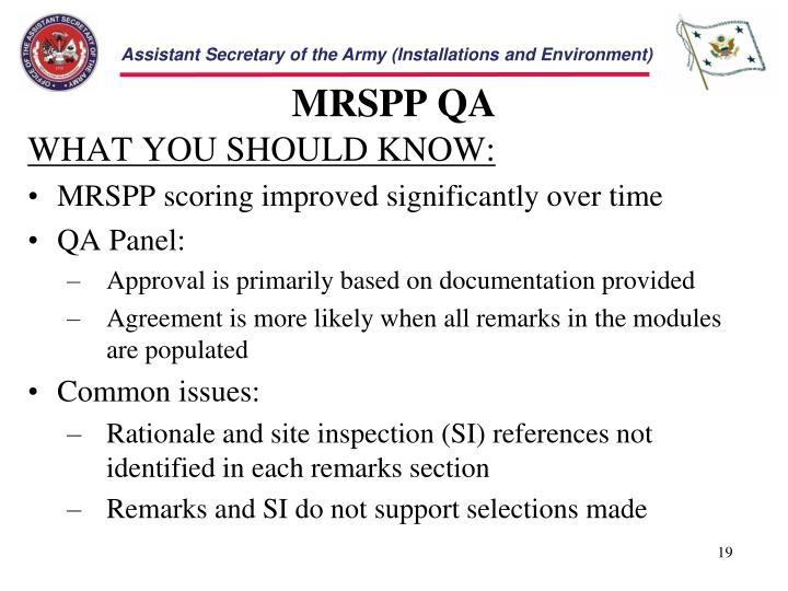 MRSPP QA