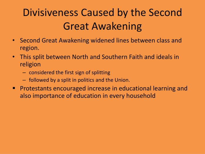 Divisiveness Caused by the Second Great Awakening