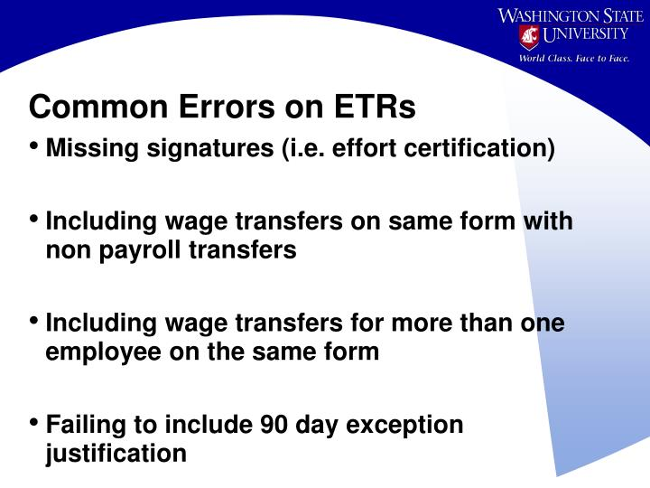 Common Errors on ETRs