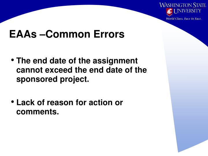 EAAs –Common Errors