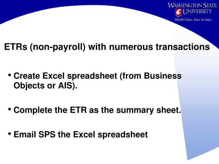 ETRs (non-payroll) with numerous transactions