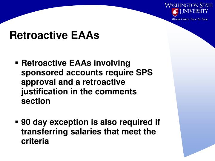 Retroactive EAAs