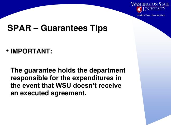 SPAR – Guarantees Tips