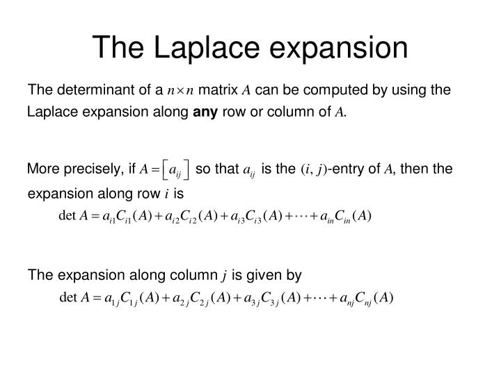 The Laplace expansion