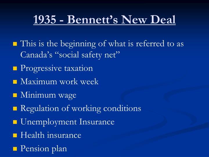 1935 - Bennett's New Deal