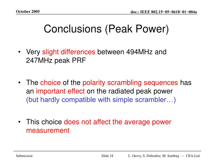 Conclusions (Peak Power)