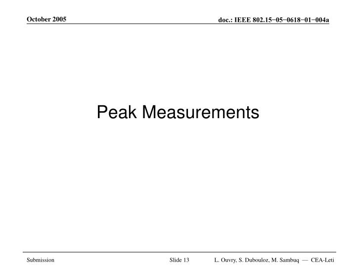 Peak Measurements