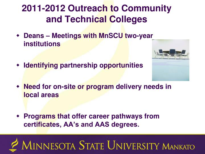 2011-2012 Outreach to Community and Technical Colleges