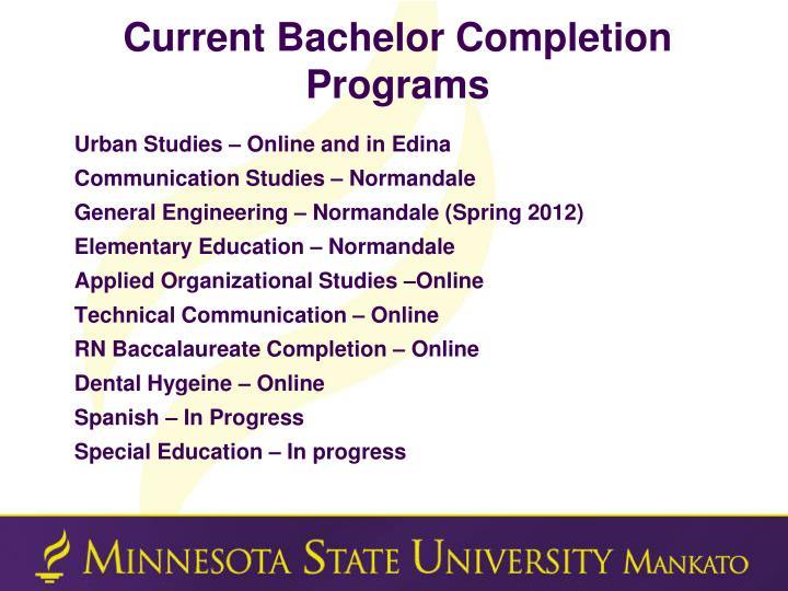 Current Bachelor Completion Programs