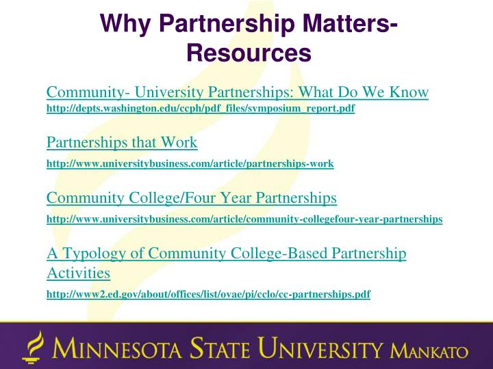 Why Partnership Matters- Resources