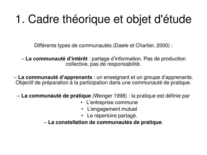 1. Cadre théorique et objet d'étude