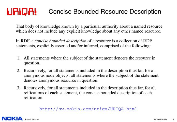 Concise Bounded Resource Description