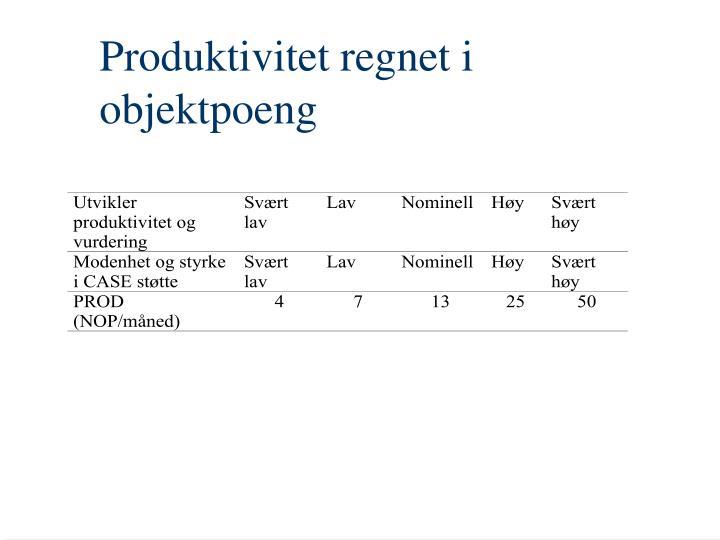 Produktivitet regnet i objektpoeng