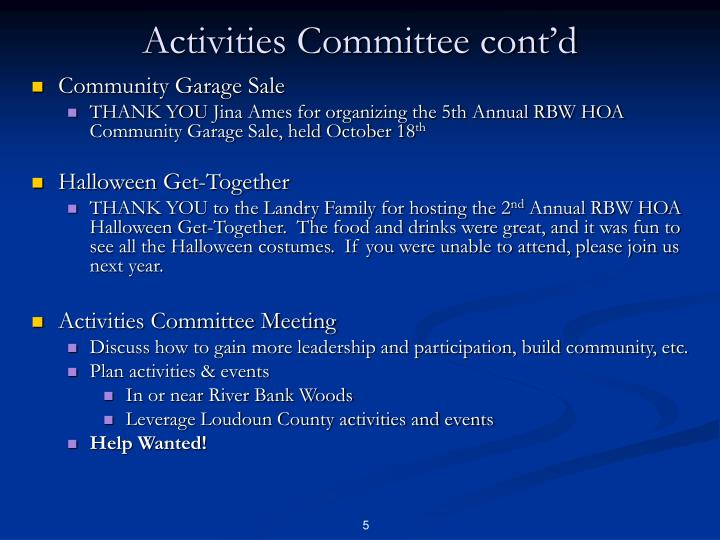 Activities Committee cont'd