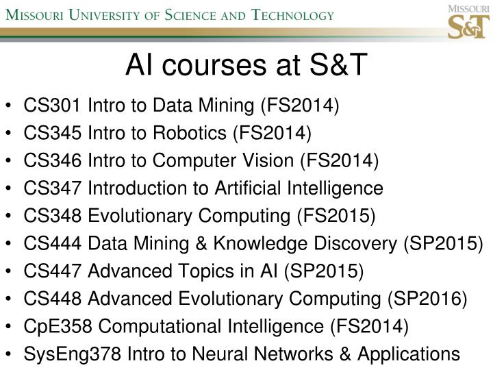 AI courses at S&T