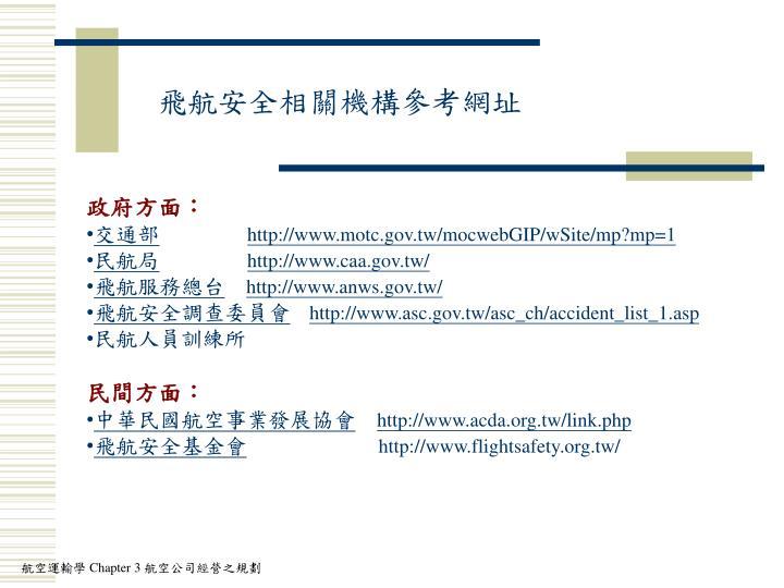 飛航安全相關機構參考網址