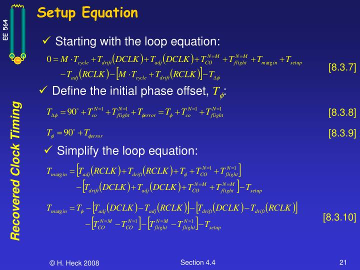 Setup Equation