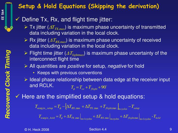 Setup & Hold Equations (Skipping the derivation)