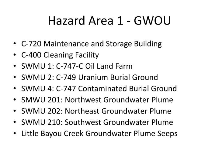 Hazard Area 1 - GWOU