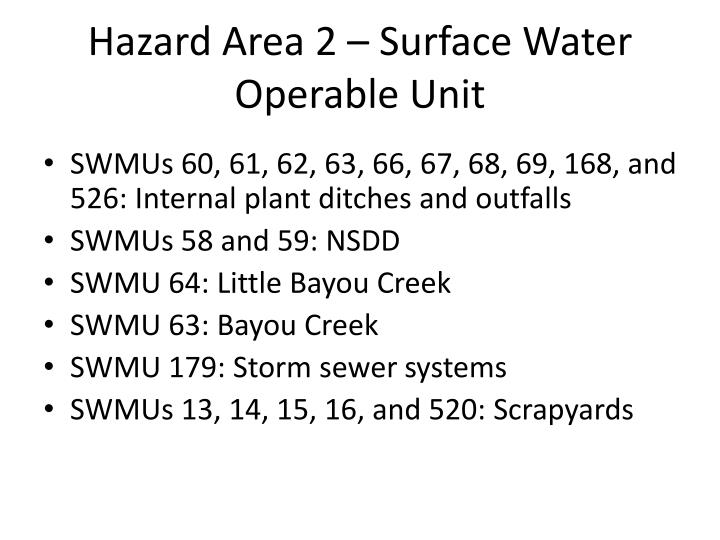 Hazard Area 2 – Surface Water Operable Unit