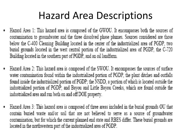 Hazard Area Descriptions