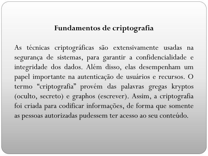 Fundamentos de criptografia