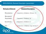 biological element descriptor parameter