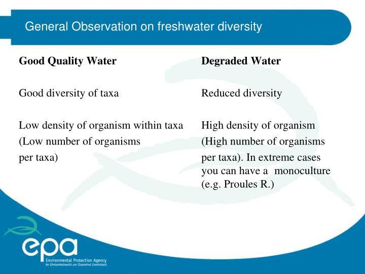 General Observation on freshwater diversity