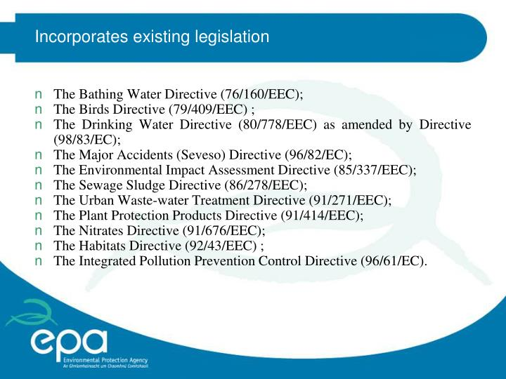 Incorporates existing legislation
