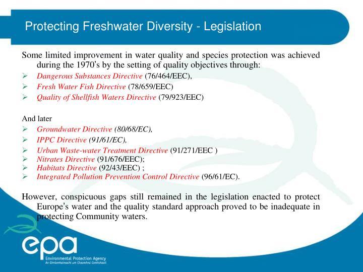 Protecting Freshwater Diversity - Legislation