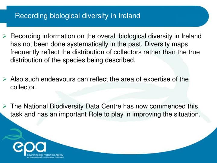 Recording biological diversity in Ireland